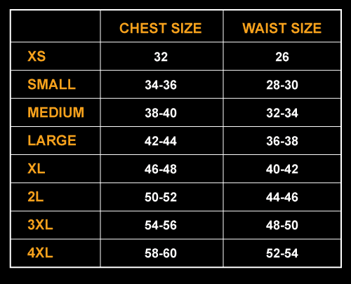 Male jerseys sizes in inches