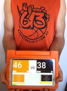 Scoreboard and basketball jersey