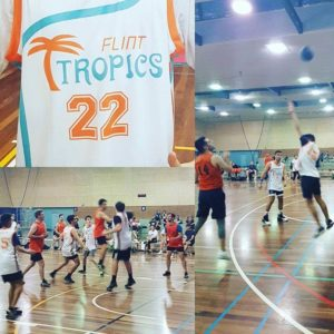 Flint tropics playing the weekend warriors basketball team in box hill